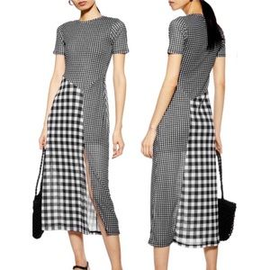 TOPSHOP Black and White Gingham Midi Dress